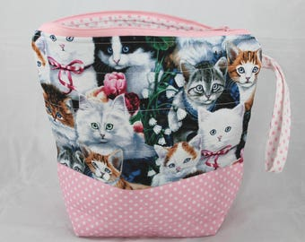 """Cute Kitties- Sew Sarandipity Small Knitting Project Bag 9""""x 9"""" x 4""""  w/ Zipper, Wrist Strap, Roll Top, Flat Bottom, Lined, Lightly Quilted"""