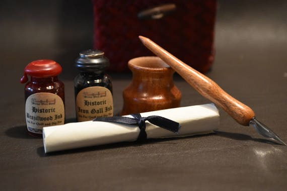 Historic writing kit - Mesquite dip pen, Mahogany inkwell, historic inks, lined container
