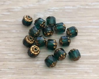 Cathedral Beads, 6 mm Beads, Glass Beads, Chez Glass Beads, Emerald