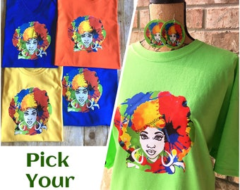 Afro Lady Tee T-shirt, Rainbow Natural Hair Apparel,Melanin Custom Vinyl Logo Tshirt, Top selling Items