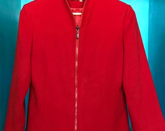 90s Fendi Jeans 100% Cashmere Red Zip-Up Jacket