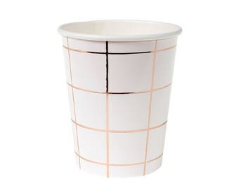 Rose Gold Grid Cups - metallic copper paper cups birthday