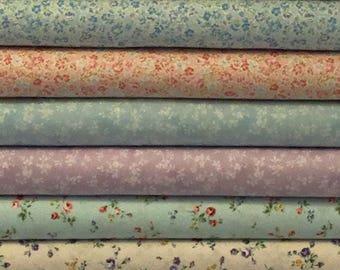 Flower Fields - Small Floral Fabric - Stripe Fabric - Rose Fabric - Fat Quarter Bundle- Lecien Fabric