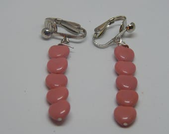 Pink Heart Clip-On Earrings