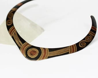Vintage black, copper and gold choker with modern design