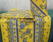 "Table Runner, 100% high quality Cotton.With or without napkins.60"" long,72"".84"" or 92""long . Fabric from Provence, France.flowers in yellow"