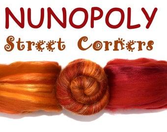 STREET CORNERS - NUNOPOLY - Multiply Mixed Pack - Blended Roving - Mini Batt - Red/Orange - 75g / 2.6 oz
