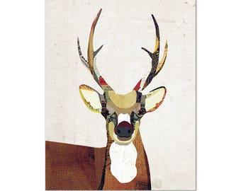 Deer Art Print - Collage Poster Print