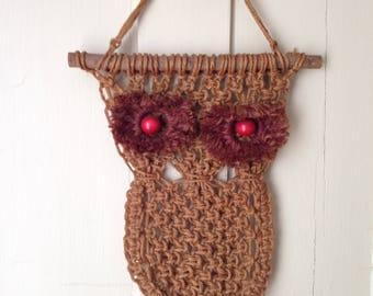 Vintage Macrame Owl Wall Hanging Jute String on Natural Wood Sticks Wooden Eyes