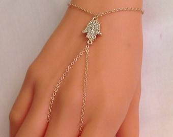 Hamsa hand slave bracelet, Boho Bracelet Ring, Gold Hamsa Hand Slave Bracelet ring, Hand of fatima jewelry, Bohemian, Gift for Her, Sale
