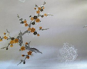 "Vintage 30"" x 3.3 yds Silk Satin Brocade Cheongsam Fabric Burgundy White Gray Yellow"