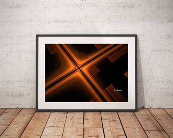 Orange black abstract art, fractal art, abstract minimalist art, modern art, geometric art, abstract art,sacred geometry,computer geek gift