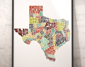 Texas Map Etsy - Map of the state of texas with cities