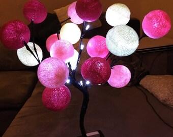 Tree lamp - table lamp - cotton ball
