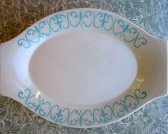 Jackson Restaurant China Platter Paul McCobb Aqua White Fleur de Lis Like Vendome 4 Available