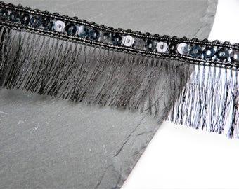 Metalic Black Sequin Edge Fringing Trim 34mm Wide Per Metre