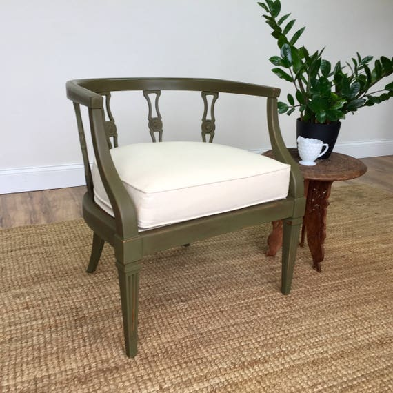 Green Chair - Occasional Chair - Federal Style Furniture - Vintage Furniture - Mid Century Chair - Unique Furniture - Antique Armchair
