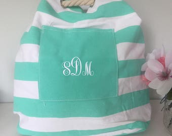 Personalized monogrammed canvas striped bag with rope handle, striped shoulder bag, beach bag, backpack