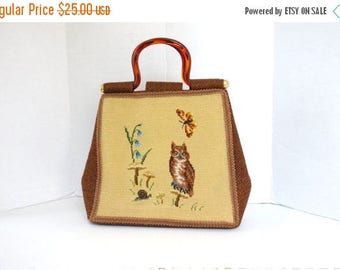 ON SALE Vintage 1960s Top Handle Purse Tapestry Bag Embroidered Owl Handbag Large Carpet Bag