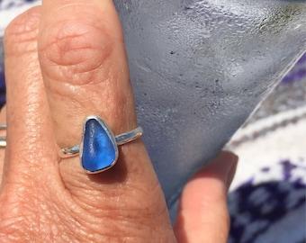 Mini blue sea glass ring