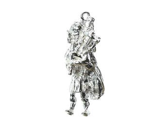 Sterling Silver Scottish Bagpipe Player Charm For Bracelets