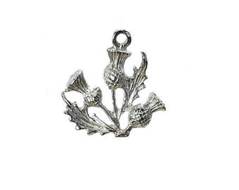 Sterling Silver Scottish Thistle Charm For Bracelets