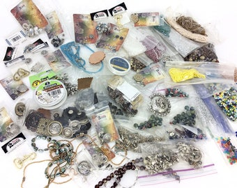 Huge Lot of Jewelry Making & Leather Working Beads Charms Craft Supplies Tandy Leather Factory