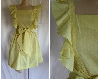 1970s Flutter Dress / Vintage Yellow Dress / Vintage 70s Sundress / Lolita Dress / Vintage 1970s Yellow Flutter Sleeve Pinafore Dress XS/S