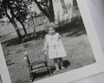 Child Photograph -Little Girl and Her Rocking Chair Photograph Outdoors