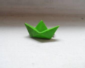 Little green origami boat brooch