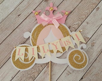 Princess carriage cake topper Princess birthday party decor