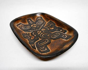 Haida Bear Trinket Dish Northwest Coast Native Art Handmade of BC Clay Vintage