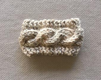 Cable knit earwarmer headband - chunky knit neutral grey and tan