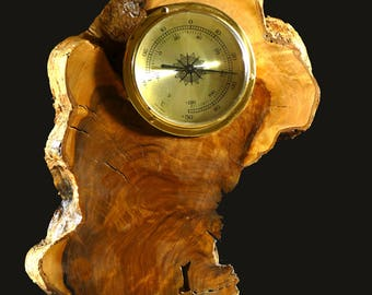 Hand carved Olive Wood thermometer,gift for him,wall art