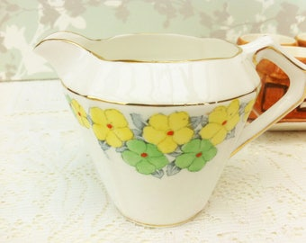 Hand Painted Yellow and Green Art Deco Creamer