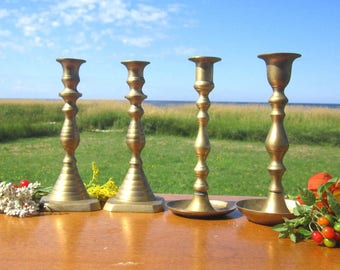 4 Brass Candle Holders  nice Grouping  2 sets   candle holders Candlestick holder set of four for Standard sized candles