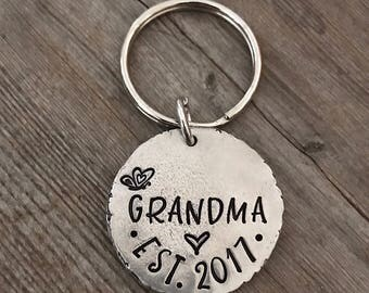 Hand Stamped, Grandma, Est. Year, Pewter Key Chain, Nanny, Mom, Mama, Gifts for Her, Grandma Gift, Personalized Jewelry