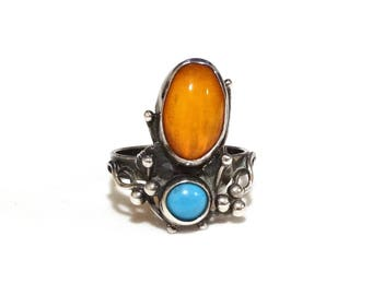 Antique Arts & Crafts Ring Turquoise Amber 800 Sterling Silver Hand Made Heirloom Jewelry Size 6.5 Unique Markings EM G 800
