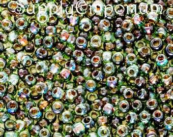 11/0 Toho Transparent Aquamarine Picasso Seed Beads, 10 Grams, Toho 11-Y314 Aquamarine Picasso Seed Beads, 1664