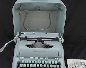 EXC 1961 HERMES 3000 Cursive Refurbished Green  Portable Typewriter W/ WARR +==