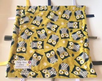 Yellow Owl Flannel and Fleece Lovey Ribbon Blanket