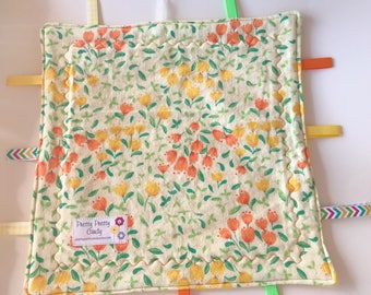 Yellow and Orange Flowers Flannel and Fleece Lovey Ribbon Blanket