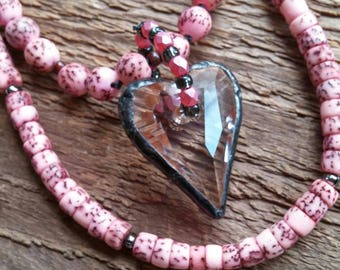 Heart Necklace, Crystal Necklace, Crystal Heart Pendant, Tiffany Style Pendant, Bohemian Jewelry, Boho Jewelry, Pink Jewelry