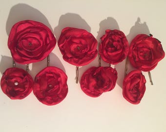 Tosey Red Fleur Hairpins