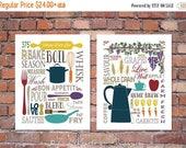 ON SALE Modern Kitchen Art Prints - Culinary Love Fine Art - (2) 8x10, 11x14, 16x20 // Brown, Tan, Beige, Multi-Color // Modern Kitchen Art