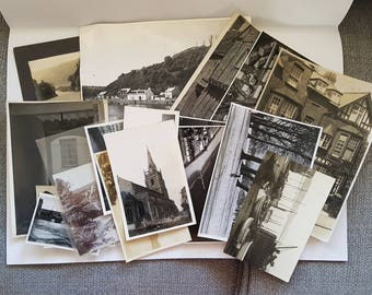 Vintage Photo Pack of UK 20 photos (M), UK United Kingdom scenery, ephemera junk journals scrapbooks smashbook, sepia, black and white