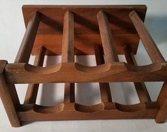 vintage wine rack wooden walnut bottle rack 6 bottle holder 1970u0027s wine holder wine display shelf - Wooden Wine Rack