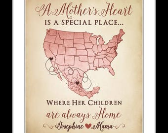 Mothers day gifts, customizable map print, mother daughter, gift for mom, quote love between a mother & daughter, long distance mothers day
