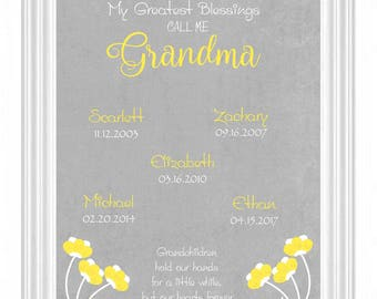 Personalized GRANDMA Gift - Grandmother Print - Gift for NANA -Up to 12 names - 8x10 Print - Mother's Day Gift - Birthday - Important Dates