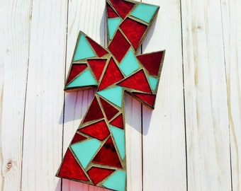 Mosaic Cross in red and turquoise stained glass, small mosaic cross wall hanging, decorative cross, unique cross
